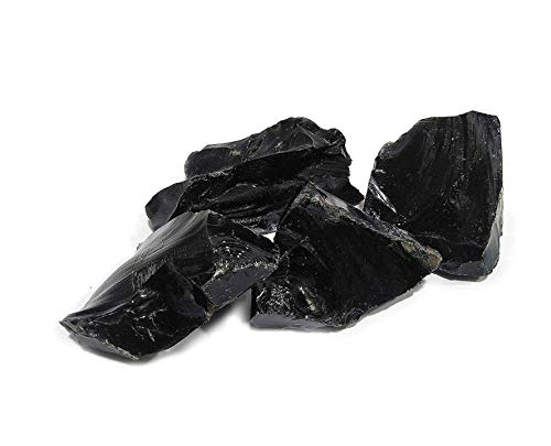 Reiki Crystal Products Natural Black Obsidian Rough Stones - Raw Stone for Reiki Healing and Vastu Correction Protection Concentration Spirituality and Increasing Creativity -Approx: 100GM