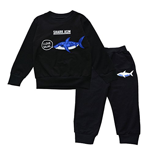 Shark Kinder Sweatshirt (Kinder Jungen Shark Trainingsanzug Pullover Sweatshirt Bottom Jogging Anzug)