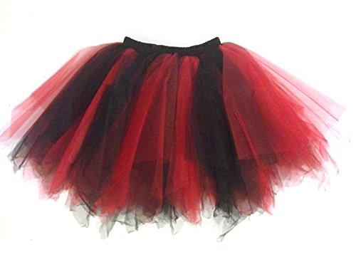 Tüllrock Antoinette für ERWACHSENE (DAMEN aber auch HERREN) - Tütü Tutu Petticoat mit Zipfelsaum - in verschiedenen Farben Schwarz, Rot