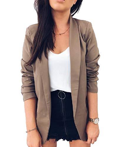 CuteRose Women Solid Fold-Collar Elegent for Office Wear Blazer Jacket Brown L (Petite Travel Blazer)