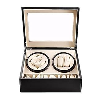 Zeigt Uhrenbeweger Verkaufsständer Aufbewahrungsbox automotique Schalldämpfer Black Leather und große Schaufenster Fenster, 14
