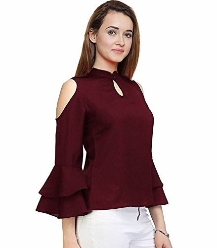 2a996f9717d61 ... indietoga Women s Cold Shoulder Top (Maroon Georgette top with Bell  Sleeves) ...