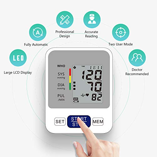 Annsky Tensiómetro de Brazo Digital,  Automática de la Presión Arterial y pulso de frecuencia cardíaca detección, 2 memorias de usuario (2 * 99), Batería incluida