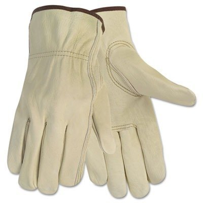 MCR Safety 3215M Economy Grade Unlined Cow Grain Leather Driver Men's Gloves with Keystone Thumb, Cream, Medium, 1-Pair by MCR