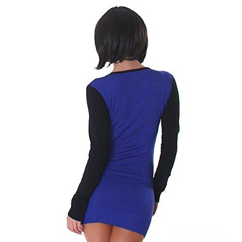 Jela London Damen Langarmshirt Pullover V-Ausschnitt Einheitsgröße 32,34,36,38 verschiedene Farben Blau