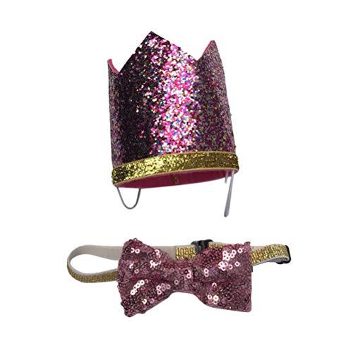 POPETPOP Cute Pets Birthday Party Headwears - Entzückender Hund Geburtstag Hut mit Bowknot - Mode Festliche Dekoration Katzen Hunde Hut, Haustiere Cosplay Kostüm Dekorative Accessoires - Pink