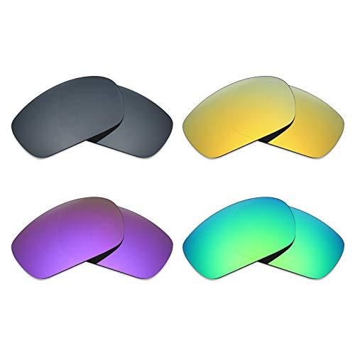 MRY 4Paar Polarisierte Ersatz Gläser für Oakley Jawbone sunglasses-black Iridium/24K Gold/Plasma violett/Smaragd Grün