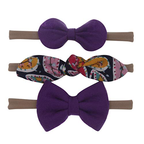 Scrolor Kopfbedeckung für Baby mädchen Stirnbänder Kleine Jungen Hasenohren Bowknot Verknoten Haarband Haarschmuck für Reisefotografie(Lila,free)