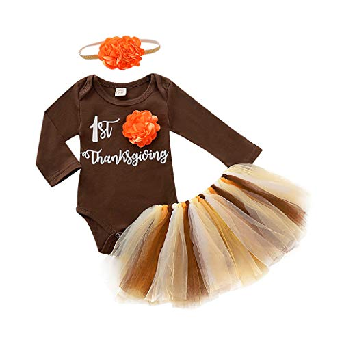 Hengzi Thanksgiving Back Greeting Card Commemorate New Born Infant Baby Girl First Thanksgiving Turkey Romper Tutu Skirt Outfits Set (3M-18M) Brown
