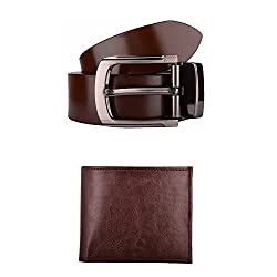 Exotique Mens Brown Formal Belt & Wallet Combo (EC0005BR-S)