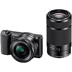 Sony ILCE-5100YB Appareil Photo Numérique Hybride, Capteur APS-C, 24,3 Mpix, Écran Tactile et flash intégré - Noir + Objectif 16-50 mm Rétractable + Objectif 55-210 mm