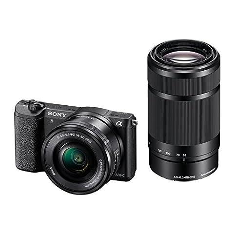 Sony Alpha 5100 Systemkamera mit ultraschnellem Hybrid-AF (180° drehbares 7,62 cm (3 Zoll) LC-Display, 24,3 Megapixel, Exmor APS-C Sensor, Full HD Video) inkl. SEL-P1650 und SEL-55210