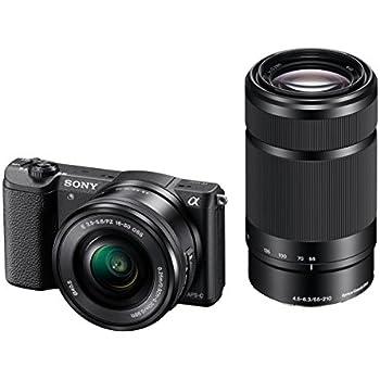 """Sony ILCE-5100 - Cámara EVIL de 24.7 Mp ( pantalla 3"""", estabilizador óptico, vídeo Full HD), color negro - Kit cuerpo cámara con objetivo E PZ 16-50 mm f/3.5-5.6 y objetivo E 55-210 mm"""