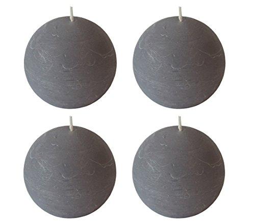 Dehner Rustic Kugelkerzen, 4 Stück, Ø 7.9 cm, grau