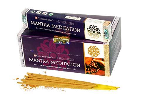 Garten Frisch Räucherstäbchen Mantra Meditation - 180 g Box - 12 Packungen mit je 15 Gramm pro Box - Prämie handgerollte natürliche Räucherstäbchen -
