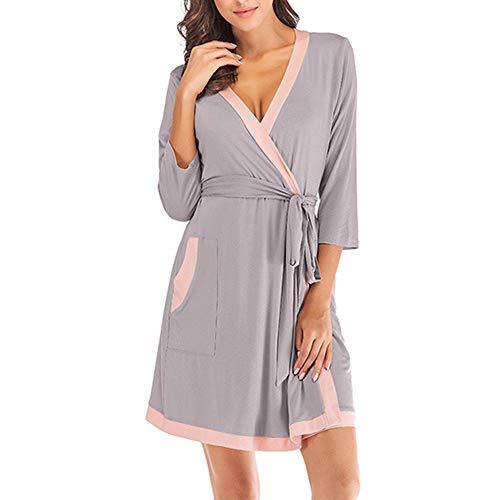 DISCOUNTL Damen-Pyjama mit sexy Nähten, lässiger Schlafanzug, Krawatte, Bademantel, Nachthemd, Nachthemd, Damen, Mädchen, Nachthemd, Bademäntel für Frauen Gr. XX-Large, grau