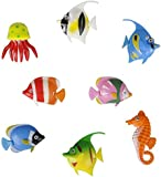 Pack of 8 - Colourful Assorted Artificial Plastic Bubble Lamp Aquarium Tropical Fish / Jellyfish & Seahorse