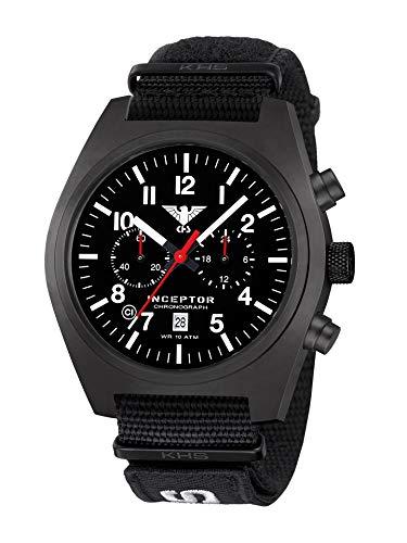 KHS Inceptor KHS.INCBSC.NXT7 - Cronografo in acciaio con cinturino Natoband XTAC, colore: Nero