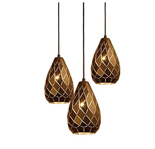 QWE Anhänger Lampenschirm Industrielle Vintage Eisen Schmiedelampe Kronleuchter E27 * 3, Bronze Runde Hängende Leuchte Kreative Loft Geometrische Lampe Für Resturant,Warmes Licht,A -