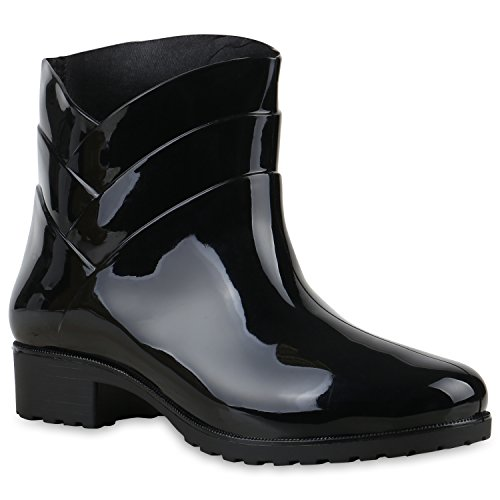Damen Gummistiefel Profil Sohle Stiefel Regen 124118 Schwarz Carlton 38 Flandell