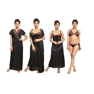 5cdc1a0a87 TUCUTE Women's Satin Nightwear Set of 4 Pcs Nighty, Wrap Gown, Bra & Thong  Smart Combo.