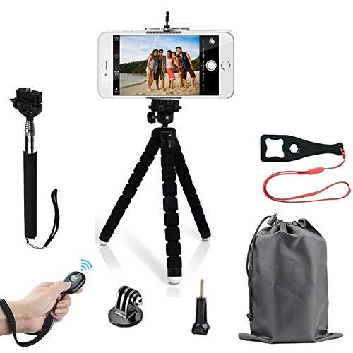HAPY Handystativ, leicht, Mini-Stativ und Universal-Smartphone-Stativ-Adapter, kabelloser Fernauslöser, Selfie-Stativ, für iPhone, Samsung, Android, jedes Smartphone, GoPro Kamera