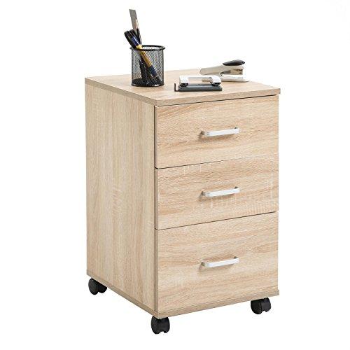 CARO-Möbel Rollcontainer JUPITER Bürocontainer Büroschrank, in Sonoma Eiche, mit 3 Schubladen, 35 x 60 x 40 cm