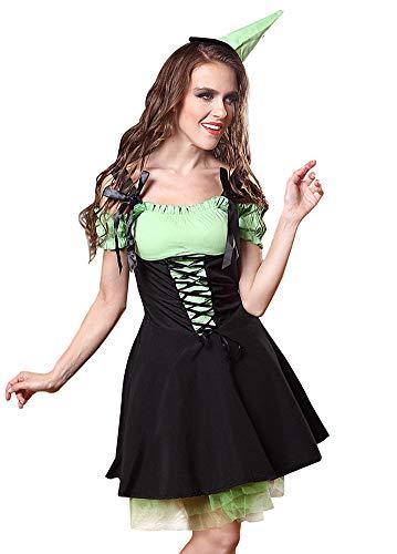 Dessous Sets Für Damen Baumwolle Hexe Königin Set Halloween Green Elf Bühnenleistung Party Service Cosplay Spiel Anzug,Black,S