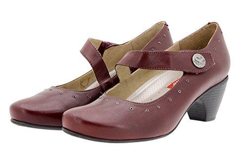 Scarpe donna comfort pelle PieSanto 9403 Mary Jean casual comfort larghezza speciale Burdeos
