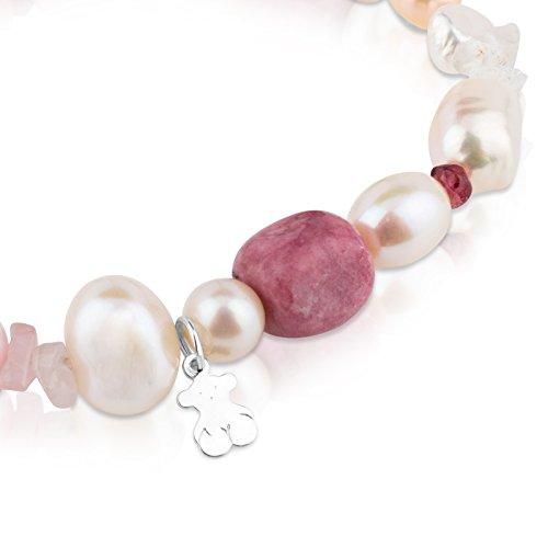 Imagen de tous pearls  pulsera de plata de primera ley, perlas, granates y rodocrositas  17,5 cm de longitud alternativa