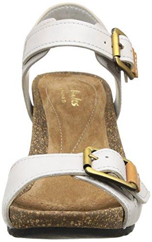 Clarks Overly Sparkle Damen Knöchelriemchen Sandalen mit Keilabsatz Grau (Chalk Leather)