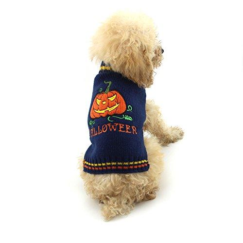 NACOCO Hund Pullover Kürbis Haustier Pullover Halloween Urlaub Party Smiling Face Devil für Katze und Puppy, XS, Schwarz