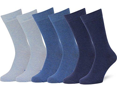 Easton Marlowe Classic Business Herren Socken - 6pk  3-4 - Hellblau/Denim/Indigo melange, einfarbig - 39-42 EU Schuhgröße -