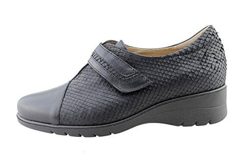 Zapatos Mujer Confort Cuero Piesanto 175962 Velcro Especial Ancho Negro (negro)