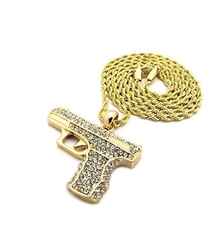 Herren Gun Micro Anhänger Eisernes Seil vergoldete Kette 3mm 76,2cm Hip Hop Bling Halskette (Gun Seil)