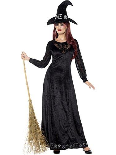 Smiffys Damen Deluxe Hexerei Kostüm, Kleid und Hut, Größe: 44-46, 48015