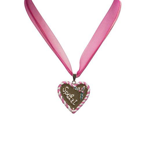 Trachtenschmuck * Trachtenkette Organzaband mit Lebkuchenherz Spatzl * Damen Dirndlkette - Organzakette * Dirndl-Schmuck Oktoberfest (Pink-Fuchsia)