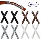 Liuer 8 Paar Silikon Rutschfest Halterung-Brille,Sonnenbrille Lesebrille Ohrstöpsel Haken,Antirutsch Halter Überzüge für Bügelenden Brillenbügel(4 Farben)