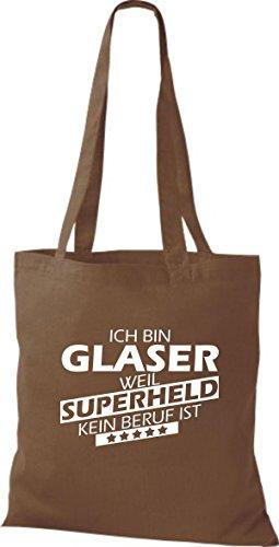 Stoffbeutel weil Superheld Beruf Ich Glaser ist kein bin mittelbraun Shirtstown TdqawUvHT