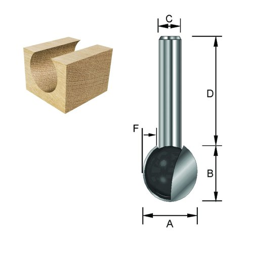 ENT Kugelfräser HW (HM), Schaft (C) 8 mm, Durchmesser (A) 15,9 mm, B 14,8 mm, F 7,95 mm, D 32 mm