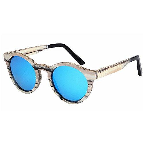 Yiph-Sunglass Sonnenbrillen Mode Damen-Sonnenbrille Handmade Runde Form Zebra Gestreifte Holzrahmen Sonnenbrille Polarisierte TAC-Objektiv UV-Schutz Fahren Angeln Strand Sonnenbrillen