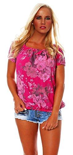 ZARMEXX Damen shell Bluse chemise motif floral blouse Carmen, viscose manches courtes * BIG ROSE * pink