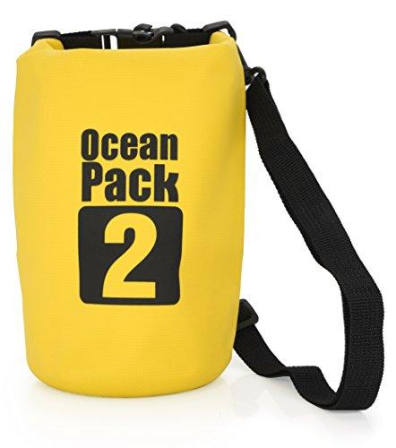 MyGadget Wasserdichte Dry Bag 2L - Trockenbeutel Wasserfeste PVC Drybag Tasche   Schutz vor Wasser & Nässe Outdoor Beutel Urlaub Trockentasche in Gelb