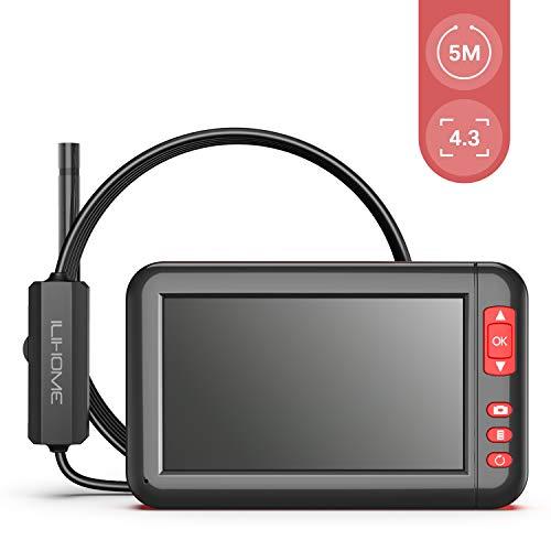 Endoskope ILIHOME Hand Industrie Endoskopkamera 4,3 Zoll Bildschirm Digitale Inspektionskamera Wasserdicht 1080P HD mit 8 LED Licht, Flexible Video Boreskop mit 2200mAh Lithium-Batterie-5 M