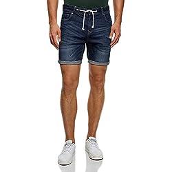 oodji Ultra Hombre Pantalones Cortos Vaqueros con Cordones, Azul, W33 / ES 44