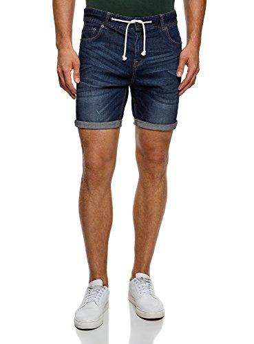 Oodji ultra uomo shorts in jeans con laccetti, blu, w36 / it 52 / eu 48