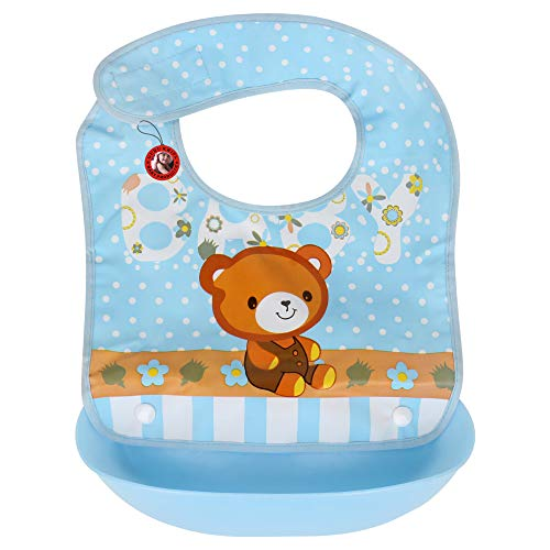 GURU KRIPA Baby Products ® Presents Waterproof Silicone Roll up Washable Crumb Catcher Baby Feeding Eating Bibs with Food Catching Pocket (Blue)
