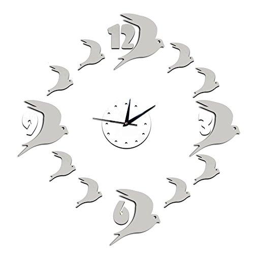 Forepin® Senza Cornice Orologio da Parete Deluxe Autoadesivo della Parete Orologio Vetro Acrilico Specchio Decal Effect Adesivi Murales per Decorazione della Casa e l'ufficio Design Moderno con Motivo Rondini - Argento