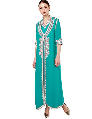 Musulmán islámica abaya / jalabiya kaftan caftán dubai maxi vestido largo para las mujeres ropa vestido de rayón 1723