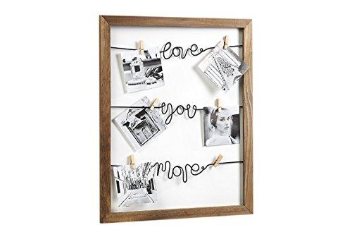 Bilderhalter LOVE Fotoleine mit Klammern aus Holz und Metall 40x50 cm (Bild Wäscheleine)